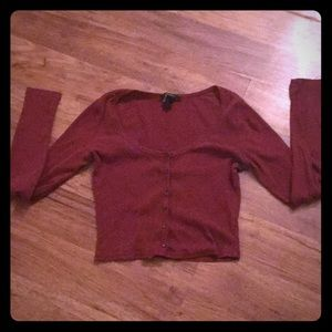 Forever 21 burgundy red crop top